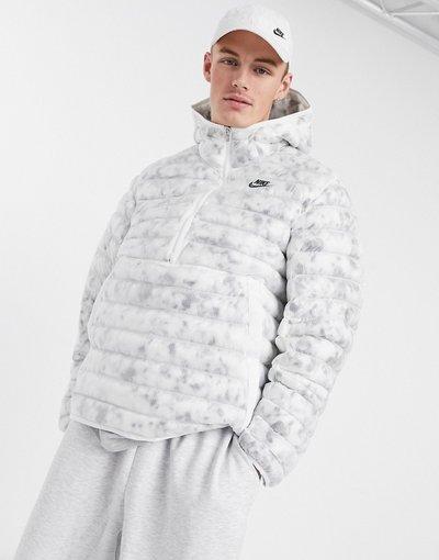 Bianco uomo Piumino overhead bianco con imbottitura sintetica e zip corta - Revival - Nike