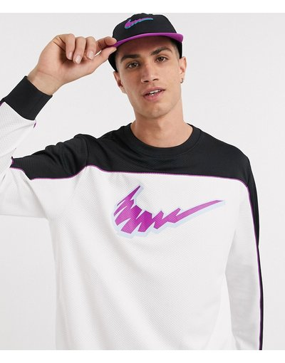 T-shirt Bianco uomo shirt a maniche lunghe bianca/nera con logo - Nike SB - Bianco - T