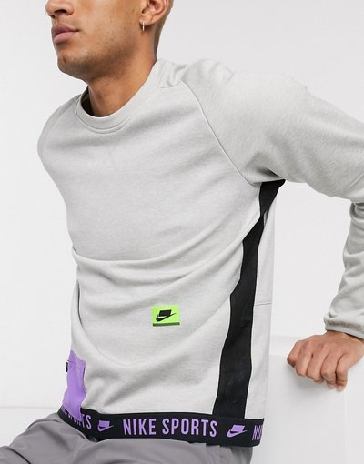 Grigio uomo Felpa termica girocollo grigia - Nike Training - Sport Pack - Grigio