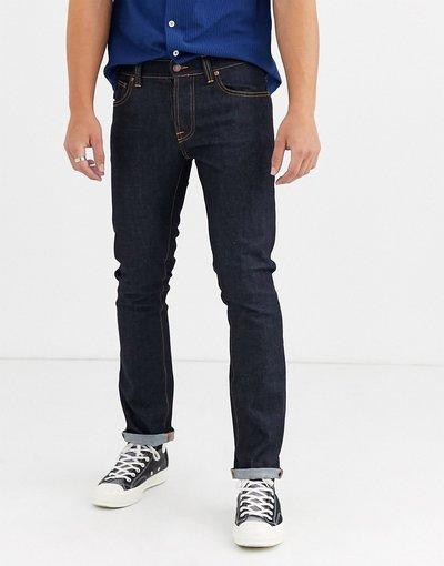 Jeans Navy uomo Jeans slim dritti blu navy lavaggio autentico Dry - Nudie Jeans Co - Grim Tim