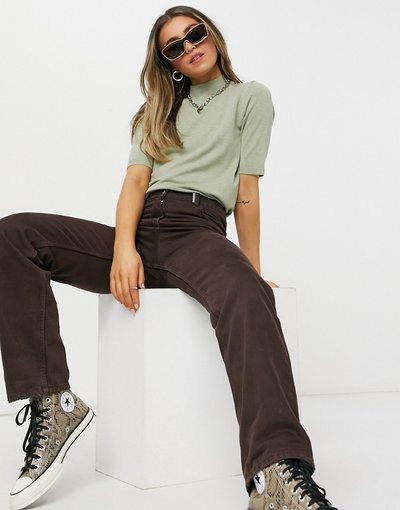 Verde donna shirt accollata in maglia verde salvia - Oasis - T