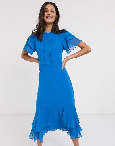 Blu donna Vestito midi con maniche a volant blu - Oasis