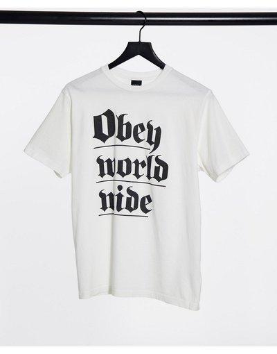 T-shirt Bianco donna shirt oversize con logo gotico sul davanti - Bianco - Obey - T