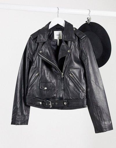 Nero donna Giacca biker in vera pelle nera - Object - Nero