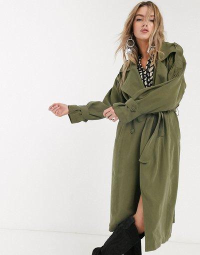 Verde donna Trench oversize kaki con maniche ampie - Object - Verde