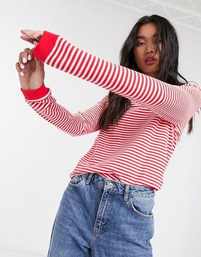 T-shirt Rosso donna Top a maniche lunghe a righe con scollo a barchetta rosso - Only - Aba