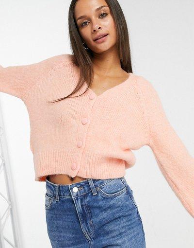 Rosa donna Cardigan in maglia con maniche a palloncino pesca - Only - Rosa