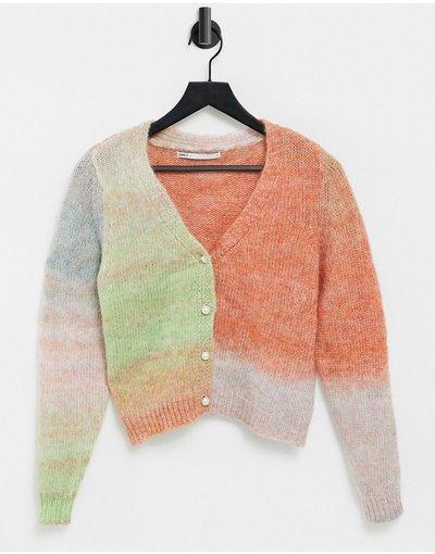 Multicolore donna Cardigan in maglia rosa e verde sfumato - Multicolore - Only