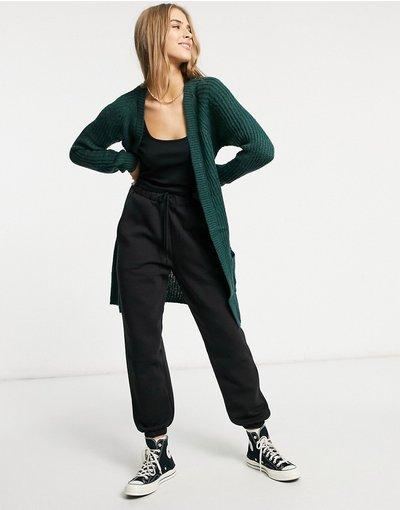 Verde donna Cardigan lungo in morbida maglia verde - Only