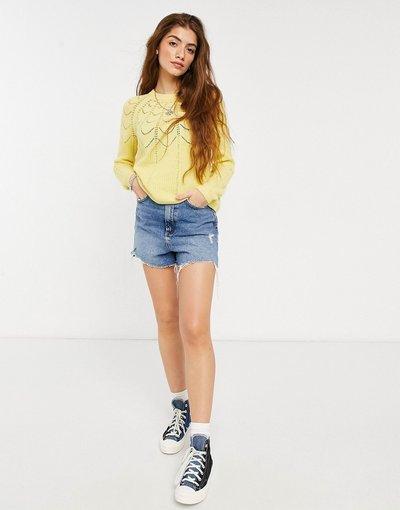 Giallo donna Maglione con motivo a maglia giallo - Only