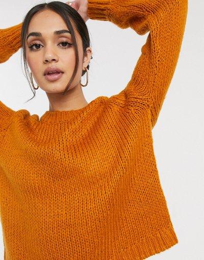 Arancione donna Maglione girocollo a maniche lunghe color zucca - Arancione - Only