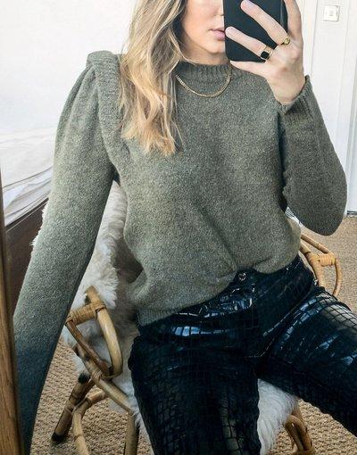 Verde donna Maglione kaki con spalle rinforzate - Only - Verde
