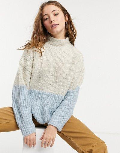 Crema donna Maglione lavorato accollato in maglia testurizzata color crema - Only