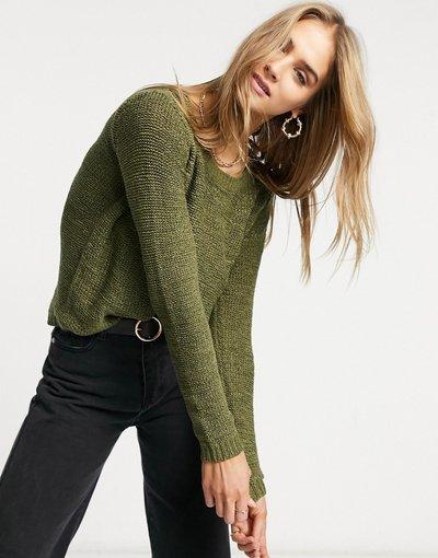 Verde donna Maglione lavorato girocollo in maglia verde Kalamata - Only