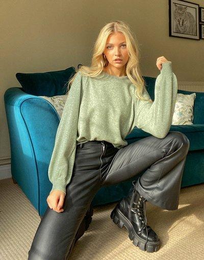 Verde donna Maglione verde con dettaglio sulle maniche - Only