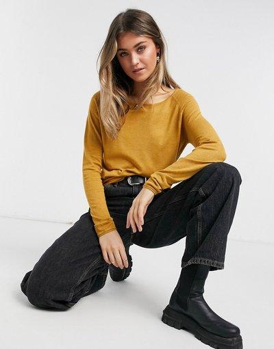 Beige donna Maglione a maniche lunghe lavorato a maglia fine giallo senape - Mila - Only - Beige