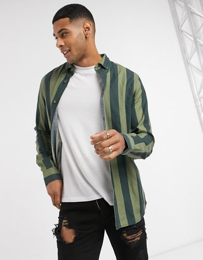 Camicia Navy uomo Camicia a righe verticali verdi e blu navy - Only&Sons