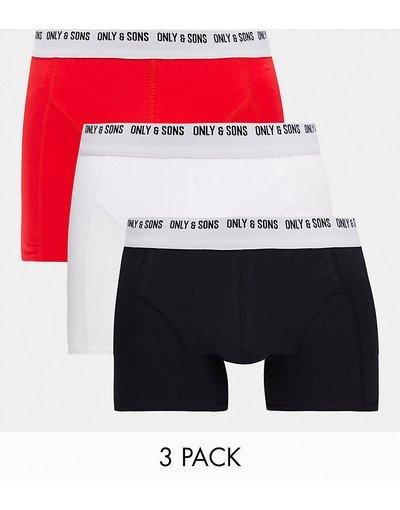 Intimo Bianco uomo Confezione da 3 boxer aderenti rosso/bianco/nero - Only&Sons