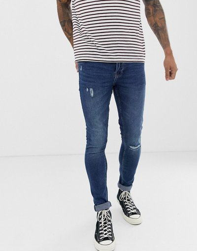 Jeans Blu uomo Jeans super skinny con strappo sul ginocchio blu slavato - Only&Sons