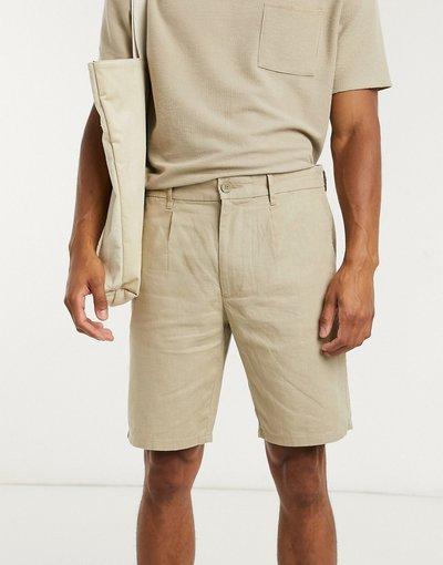 Beige uomo Pantaloncini beige in misto lino - Only&Sons