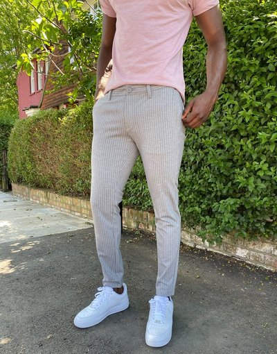 Grigio uomo Pantaloni eleganti stretch grigio gessato - Only&Sons