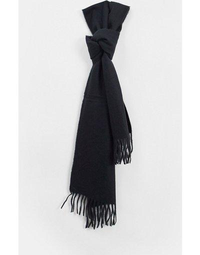 Nero uomo Sciarpa in lana con nappe nera - Only&Sons - Nero