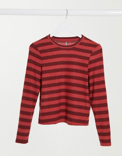 T-shirt Rosso donna Top a maniche lunghe a coste rosso e marrone a righe - Only