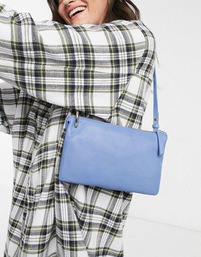 Borsa Blu donna Borsa a baguette in pelle blu -&Other Stories