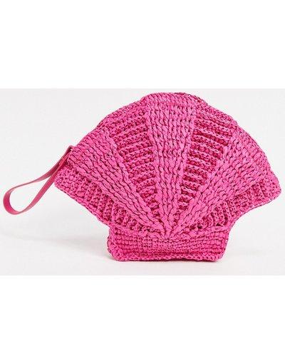 Borsa Rosa donna Borsa clutch in paglia a conchiglia rosa con cinturino -&Other Stories