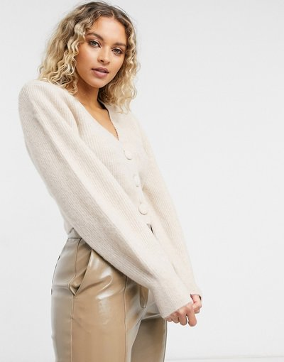 Beige donna Cardigan in lana con imbottitura sulle spalle beige -&Other Stories