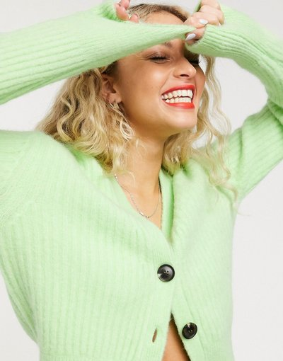 Maglione tendenza Verde donna Cardigan soffice a coste verde mela -&Other Stories