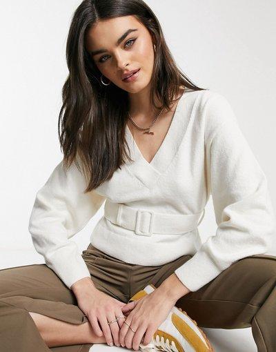 Bianco donna Maglione bianco sporco con maniche a palloncino e cintura -&Other Stories
