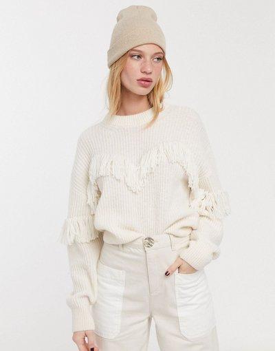 Maglione alpaca Nero donna Maglione in misto alpaca con frange bianco sporco -&Other Stories - Nero