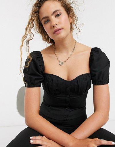 Camicia Nero donna Top con maniche a sbuffo e scollo a cuore nero -&Other Stories