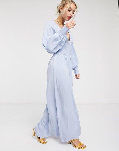 Eleganti pantaloni Blu donna Vestito al polpaccio con maniche a palloncino azzurro -&Other Stories - Blu
