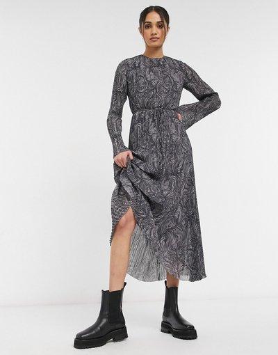 Grigio donna Vestito lungo plissé in materiale riciclato grigio con stampa effetto marmorizzato -&Other Stories