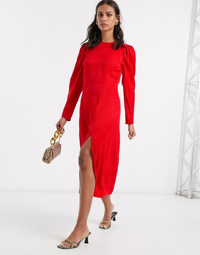 Eleganti pantaloni Rosso donna Vestito midi jacquard rosso a pois con maniche a palloncino -&Other Stories