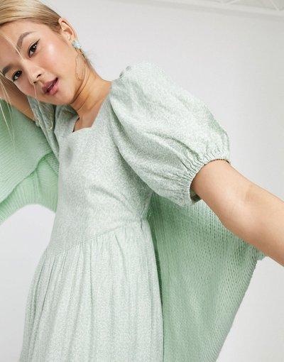 Eleganti pantaloni Multicolore donna Vestito midi verde salvia con motivo vintage a fiori e maniche a palloncino -&Other Stories - Multicolore