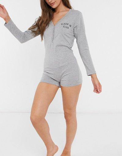 Pigiami Grigio donna Abbigliamento notte intero grigio a maniche lunghe con stampa - Outrageous Fortune