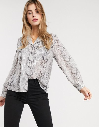 Camicia Multicolore donna Blusa trasparente argento pitonato - Outrageous Fortune - Multicolore