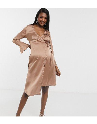 Beige donna Vestito blazer con fiocco e maniche svasate grigio talpa - Outrageous Fortune Maternity - Beige