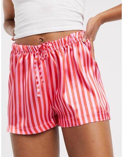 Pigiami Multicolore donna Pantaloncini da notte in raso a righe rosa - Outrageous Fortune - Multicolore
