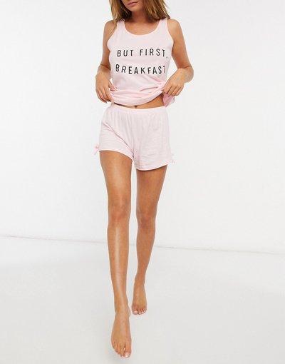 Pigiami Rosa donna Pigiama con pantaloncini e top senza maniche rosa - Outrageous Fortune