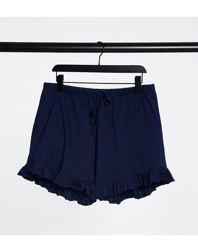 Pigiami Blu donna Pantaloncini da notte con volant navy - Outrageous Fortune Plus - Blu
