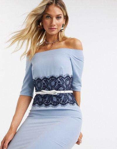 Blu donna Vestito con scollo Bardot e pizzo in vita blu - Paper Dolls - Lowndes