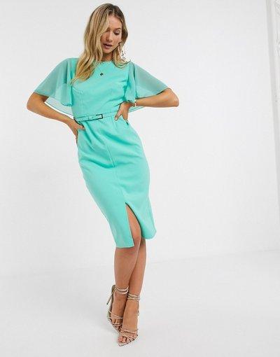 Blu donna Vestito midi con maniche drappeggiate menta - Paper Dolls - Mirabel - Blu