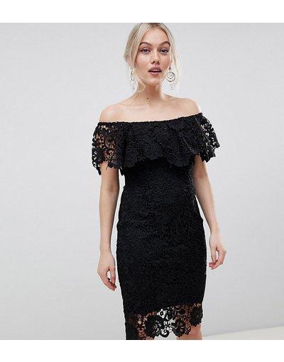 Eleganti longuette Nero donna Vestito longuette in pizzo nero con volant e scollo alla Bardot - Paper Dolls Petite