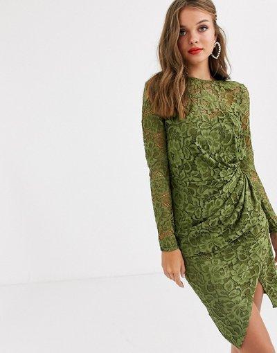 Verde donna Vestitino a portafoglio in pizzo a maniche lunghe oliva - Paper Dolls - Verde