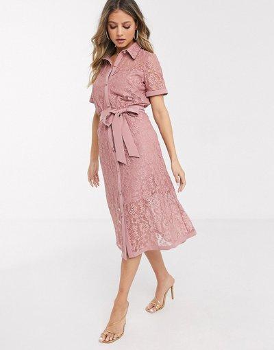 Rosa donna Vestito camicia in pizzo rosa crepuscolare - Paper Dolls