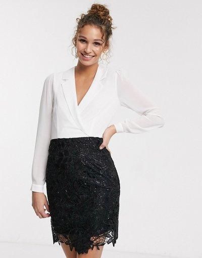 Multicolore donna Vestito corto 2 in 1 stile smoking nero e bianco - Paper Dolls - Multicolore